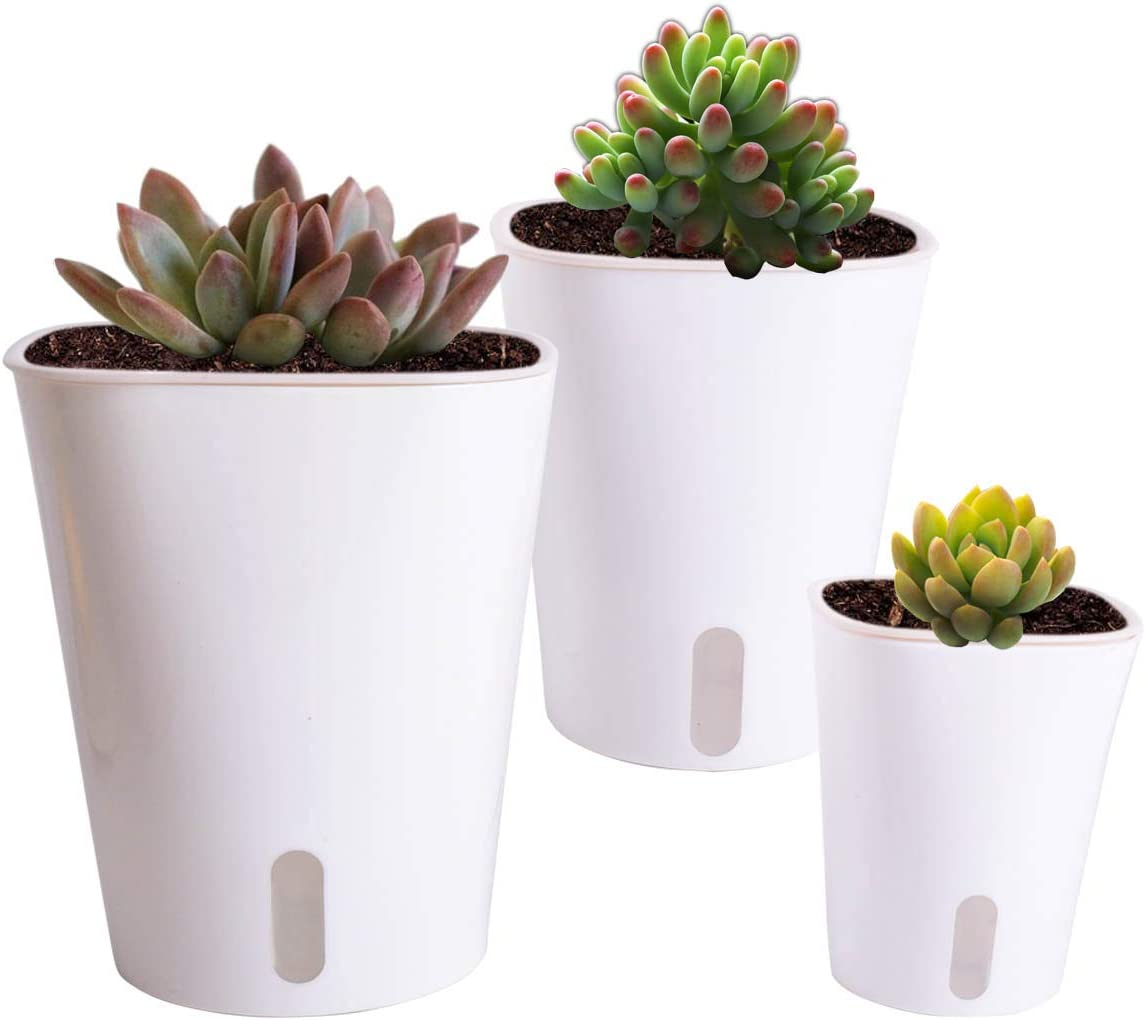 Vencer Self Watering Planter 3 Pack Modern Decorative Planter Pot for All House Plants Flowers, Herbs,African Violets,Succulents,White,VF-066