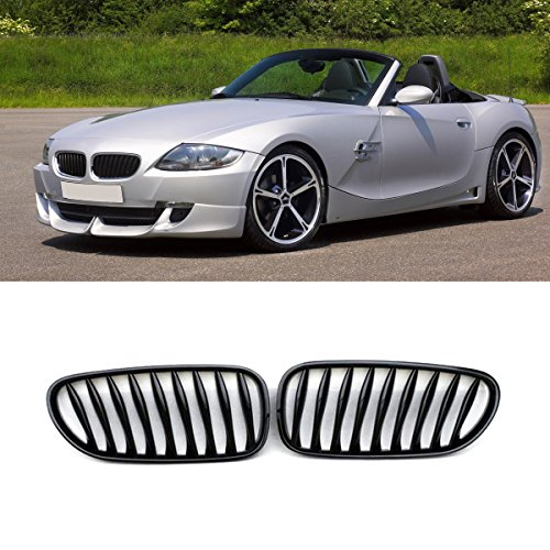 E85 Grille, ABS Front Replacement Kidney Grill for BMW Z Series Z4/E85 Gloss Black