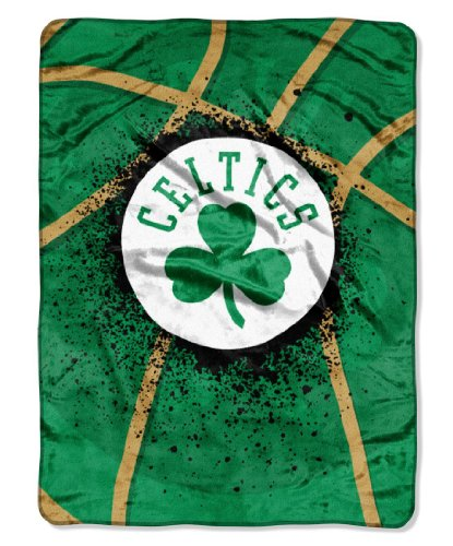 Officially Licensed NBA Boston Celtics Shadow Play Plush Raschel Throw Blanket, 60