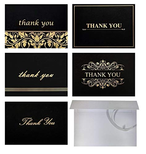 Best 100 Thank You Cards with Self-Seal Envelopes Set, Blank Inside, 4x6 Photo Size, Black and Gold Foil Thank You Note Cards Bulk Pack, 5 Designs - for Wedding, Bridal, Baby Shower, Funeral, Business ()