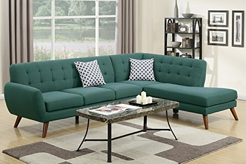 Poundex Bobkona Belinda Linen-Like Polyfabric SECTIONAL in Laguna - Tight Back and Seat Cushion Soild wood Twist on Leg Seat Cushion Filled with foam and inner Spring for durability and comfort - sofas-couches, living-room-furniture, living-room - 516M5q4PvML -