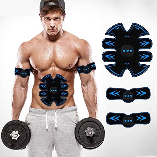 つづり冗長大きいUsb充電筋肉トナーabs abシミュレータ腹部調色ベルトワークアウトワイヤレスEMSトレーニングホームオフィス用腹部腕脚トレーニングホームオフィス (Color : Blue)