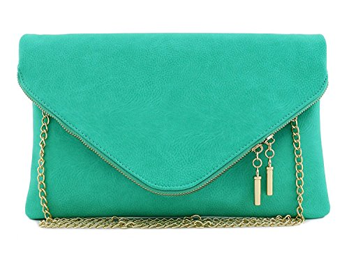 Cross Large Turquoise Elphis Fashion Fold Over Evening Body Envelope Purse Clutch Bag WHH1nP