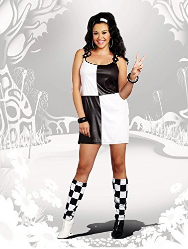 [Dreamgirl Women's Plus-Size Yeah Baby! 60s Mod Costume, Black/White, 1X/2X] (60s Girl Costumes)