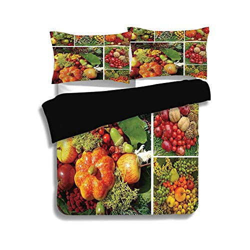 KUDOUXIA Black Duvet Cover Set Queen Size,Harvest,Photograph of Products from Various Gardens and Fields Seasonal Foods Apple Walnuts Decorative,Multicolor,3 Pcs Bedding Set 2 Pillow Shams