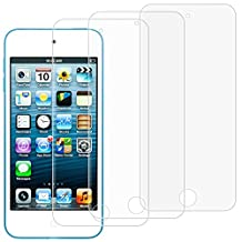 Screen Protectors for iPod Touch 6th 5th Generation, AFUNTA Set of 3 Full Coverage Tempered Glass Protective Films, HD Clear Anti-Scratches Bubble Free for Apple iPod Touch 5 6