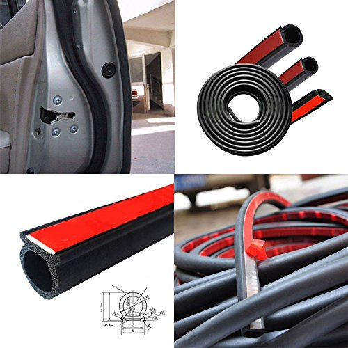 Hanbaili 5M Car Motor Door Edge Guard Small D-Type Rubber Seal Weather Tape Strip Strap