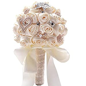 Flonding Wedding Bouquets Bride Bridal Artificial Silk Roses Satin Ribbon Handle Brooch Rhinestone Bouquet Bridesmaid Holding Flowers for Valentine's Day Confession Party Church 18