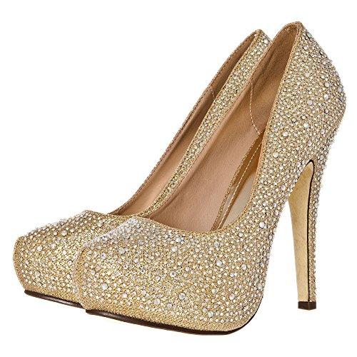 Concealed Platform Stiletto High Heel Diamante All-Over Court Shoe Gold Glitter hIf2wXtQHC