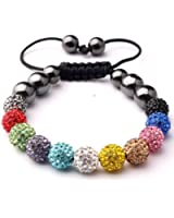 NEW Collection Multicolour NY London Shamballa Crystal Beads Women Bracelet Dimante