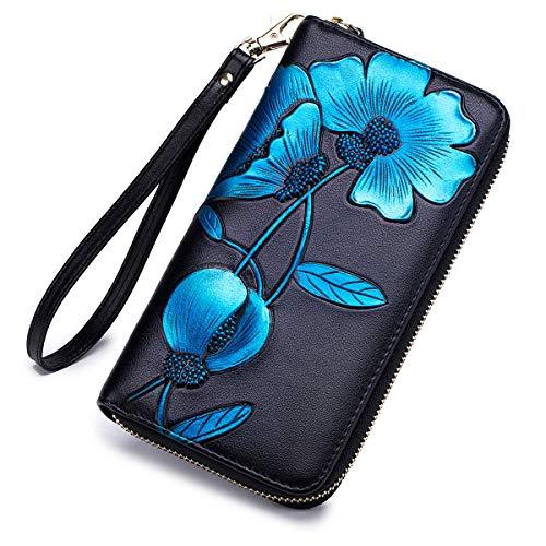 APHISON Women RFID Leather Wallet Hand Painted Flowers Ladies Wristlet Wrist strap Long Purse-Peony/Bauhinia