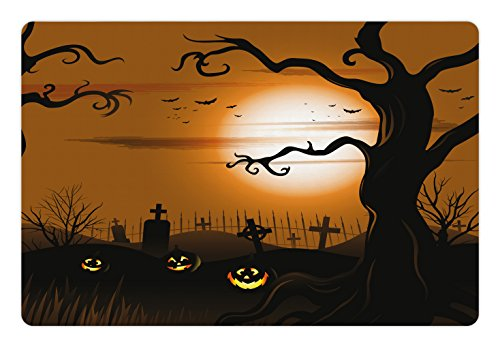 Ambesonne Halloween Pet Mat for Food and Water, Leafless Creepy Tree with Twiggy Branches at Night in Cemetery Graphic Drawing, Rectangle Non-Slip Rubber Mat for Dogs and Cats, Brown Tan]()