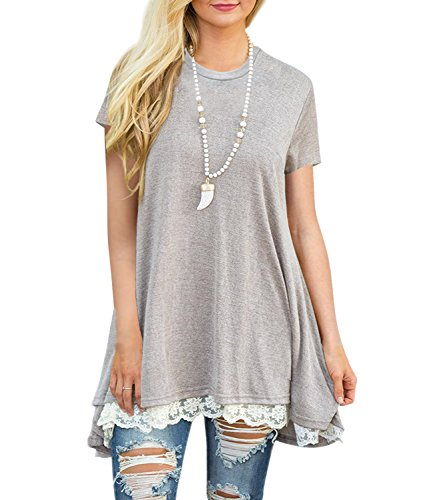OURS Women's Comfy Lace Trim Short Sleeve T Shirt Tunic Top Light Grey M Lights And Lace Tee