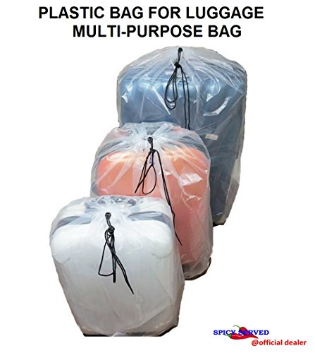 Dust Cover Big Plastic Bags Multi-Purpost for Storage Drawstring Bag Set For Keeping Luggage, Big Dolls, Blankets, Pillows, Bags, Suitcase Good for Household Organizing 4 Bags/Set by SPICY SERVED.