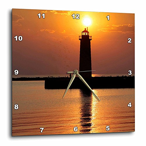 (3dRose DPP_91212_3 Mi, Muskegon Lighthouse on Lake Michigan US23 RER0002 RIC Ergenbright Wall Clock, 15 by 15-Inch)