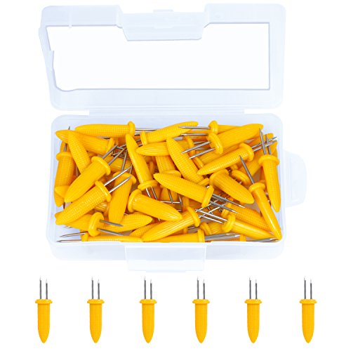 Elcoho 50 Pieces Stainless Steel Corn Holders Corn on the Cob Holders Prong Skewers with Storage Box