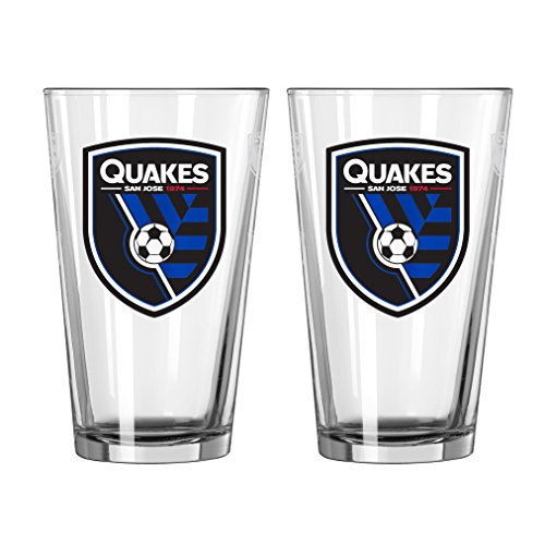 fan products of MLS San Jose Earthquakes Satin Etch Pint, 16-ounce, 2-Pack