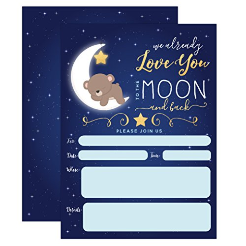 Boy Baby Shower Invitation, Love You to The Moon and Back Baby Shower Invitation, Bear Baby Shower Invite, Twinkle Twinkle Little SAR, 20 Fill in Invitations and Envelopes]()