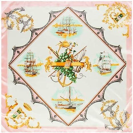 LYDHWK 90 * 90 cm Pañuelo de Seda Marca España Flota de Barco Estampado Bandana Mujeres Pañuelo de Seda Foulard Oficina Señora Pañuelo para el Cuello Rosa: Amazon.es: Deportes y aire libre