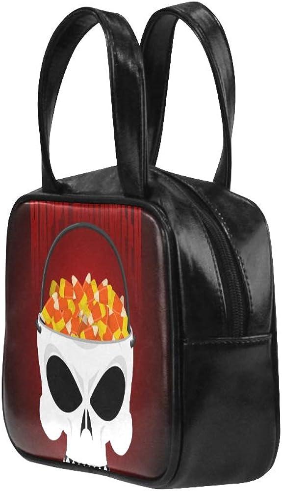 Zip Tote Bag Holiday Candy Skull Basket Girls Fashion Bags Handbag Tote Bag Pu Leather Top Handle Satchel Tote Bags