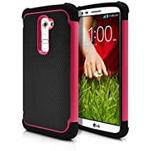 LG G2 Case, MagicMobile® Hybrid Rugged Impact Resistant Shockproof Protective LG G2 Case Double Layer Cover Hard Shell and Soft Rubber Silicone Skin [ Black - Hot Pink ] Tough Armor Case for LG G2 (2013)