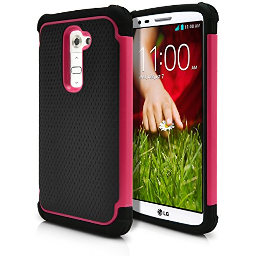 LG G2 Case, MagicMobile Hybrid Rugged Impact Resistant Shockproof Protective LG G2 Case Double Layer Cover Hard Shell and Soft Rubber Silicone Skin [ Black - Hot Pink ] Tough Armor Case for LG G2 (2013) (Case G2 Lg Phone Unique)