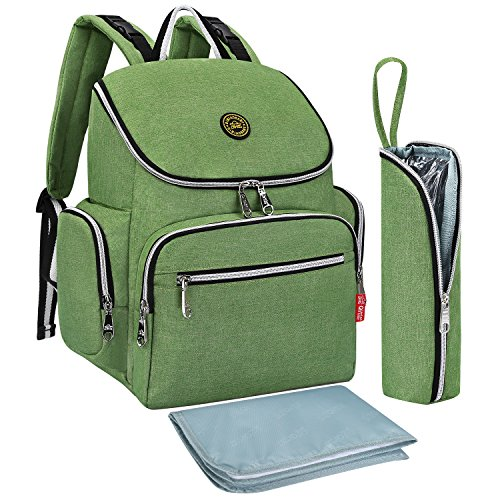 S-ZONE Multi-function Baby Diaper Bag Backpack with Changing Pad and Portable Insulated Pocket (Green)