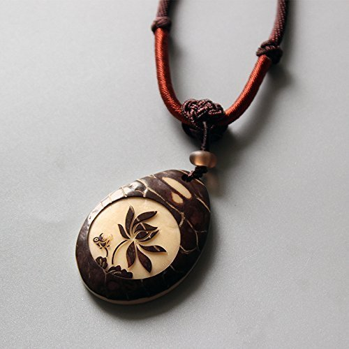 TALE Oriental Ethnic Necklace with Handcarved Lotus Flower Tagua Nut Lucky Pendant