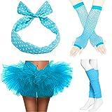 ZeroShop 80s Accessories for Womens, Tutu Skirt,Headband,Fishnet Gloves & Leg Warmers (Women, Light Blue)