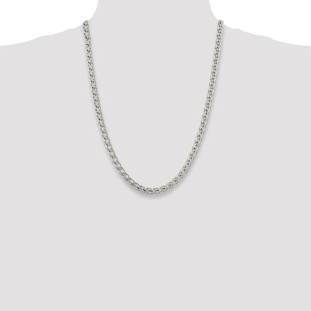 "14k White Gold Round Diamond Cut Wheat Necklace Pendant Chain 20/"" .6mm"