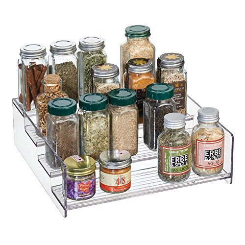 mDesign Plastic Kitchen Spice Bottle Rack Holder, Food Storage Organizer for Cabinet, Cupboard, Pantry, Shelf - Holds Spices, Mason Jars, Baking Supplies, Canned Food - 4 Levels - White