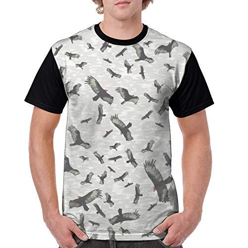 Men's Raglan Short Sleeve T-Shirts Bird Pattern Casual