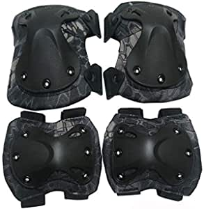 Knee Pads+Elbow Pads Set Tactical Paintball Knee Protector For Sports Black