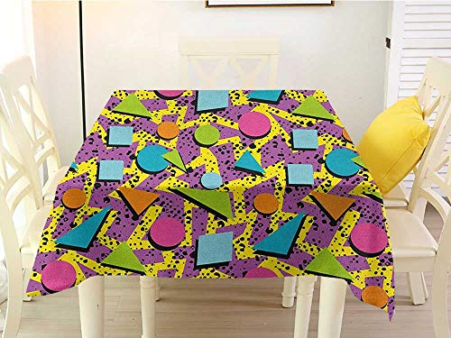 (L'sWOW Square Tablecloth Cream Vintage Funky Geometric 80s Memphis Fashion Style Colorful Figures Pop Art Inspired Pattern Multicolor Polyester 36 x 36 Inch)