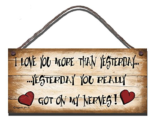 Gigglewick Gifts Shabby Chic Wooden Funny Sign Wall Plaque I love You More Than yesterday You Really Got On My Nerves
