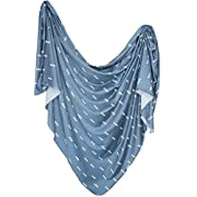 Large Premium Knit Baby Swaddle Receiving Blanket Navy and White Triangles  North  by Copper Pearl