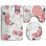 HOMESTORES Pink Rose Flower Floral Bathroom 3-Piece Mat Sets Pedestal Mat + Lid Toilet Cover + Bath Mat Doormat Non-slip Rug