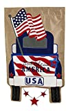 Evergreen Patriotic Pick-Up Truck Burlap House Flag, 28 x 44 inches For Sale