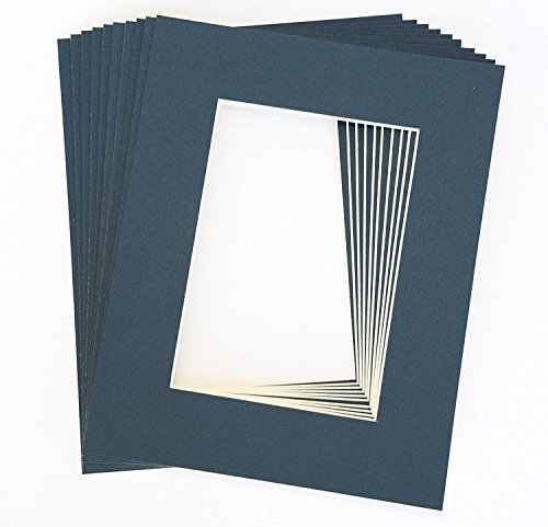 Pack of 10 NAVY BLUE 11x14 Picture Mats Matting with White Core Bevel Cut for 8x10 Pictures