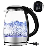 Minetom Temperature Control Electric Kettle, Glass and Stainless Steel Tea Hot Water Kettle with LED Light 1.7L 1500W Fast Water Boiler Automatic Shutoff Boil Dry Protection Durable Bpa Free
