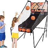 Yuebo Electronic Basketball Arcade Game, Indoor Double Shot Basketball Game, 5 Balls