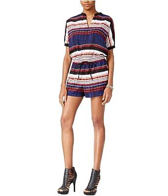 8f8df5f86cfa Amazon.com  GUESS Womens Striped Romper Jumpsuit Blue XL  Clothing