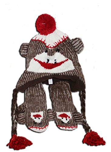 Toddler Size Sock Monkey Hat with Mittens (Red/brown, One Size) (Crazy Monkey)