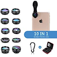 Yimaler Cell Phone Camera Lens Kit, 10 in 1 Micro Camera Lens for iPhone/Android Phone/Tablet/Laptop Included 0.63X Wide Angle Lens+15X Marco Lens+198° Fisheye Lens+2X Telephoto Lens+CPL/Flow/Radial/S