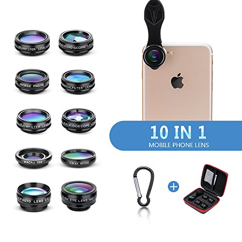 Yimaler Cell Phone Camera Lens Kit, 10 in 1 Micro Camera Lens for iPhone/Android Phone/Tablet/Laptop Included 0.63X Wide Angle Lens+15X Marco Lens+198° Fisheye Lens+2X Telephoto Lens+CPL/Flow/Radial/S by Yimaler