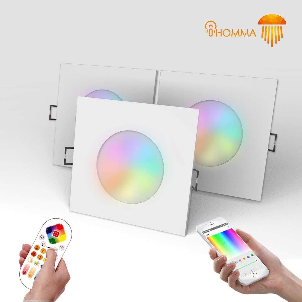 3個セットiHomma 4インチ 70径 真四角 IP65防水LEDスマートダウンライトiOS / Android用のスマートAPPとリモートコントロール調光機能付きマルチカラー 調色調光2700K-6500K 100V 電話App Bluetooth接続 400ルーメン(Bluetooth+リモコン, 3個セット) B07KWXFY5K Bluetooth + リモコン 3個セット