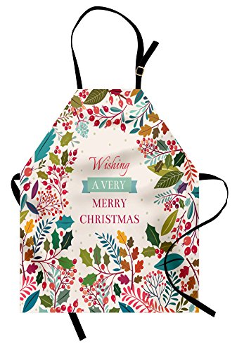 Ambesonne Christmas Apron, Colorful Botanical Frame Design with Blossoms Herbs Holly Artistic Design, Unisex Kitchen Bib Apron with Adjustable Neck for Cooking Baking Gardening, Coral Ivory ()