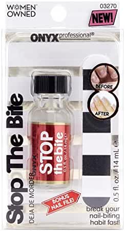 Onyx Professional Stop the Bite Nail Biting & Thumb Sucking Deterrent Cure Nail Polish   Treatment for adult & kids 0.5 fl oz - Stimulates Nail Growth Includes Nail File