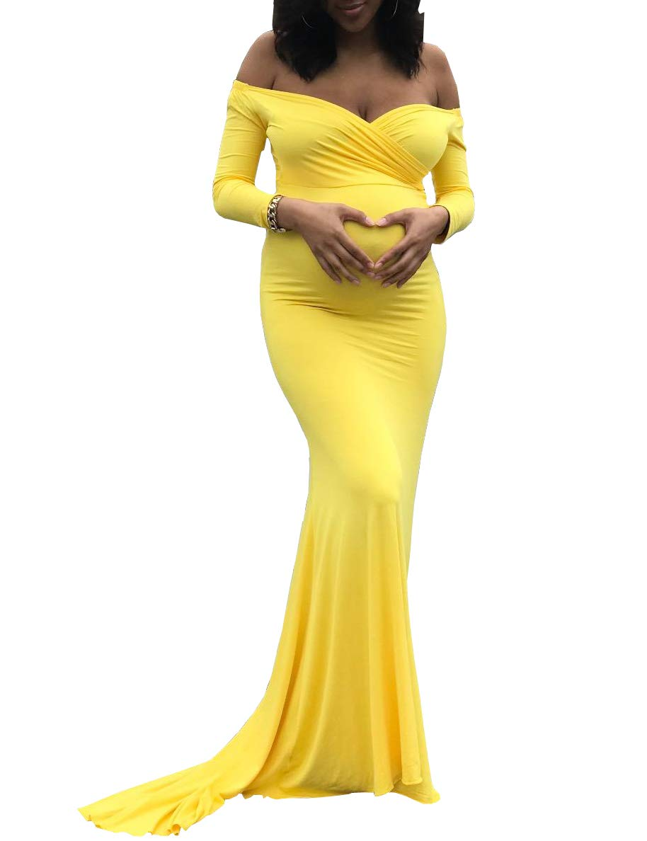 Saslax Maternity Elegant Fitted Maternity Gown Long Sleeve Slim Fit Maxi Photography Dress Heart Yellow L