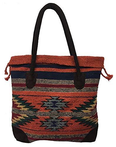(Monterrey Ladies Tote Purse Handwoven Southwestern Aztec Print Suede Handles A)